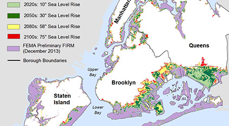 Map of New York City flood zones