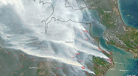 Satellite imagrey of Indonesian fire smoke