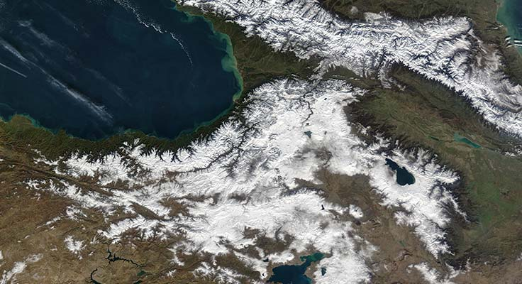MODIS imagery of snow-covered mountains