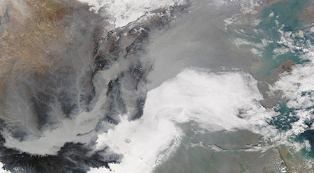 Satellite photo of smog over China