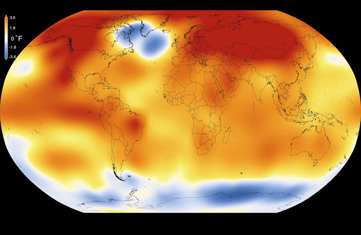 Global map of 2015 temperature
