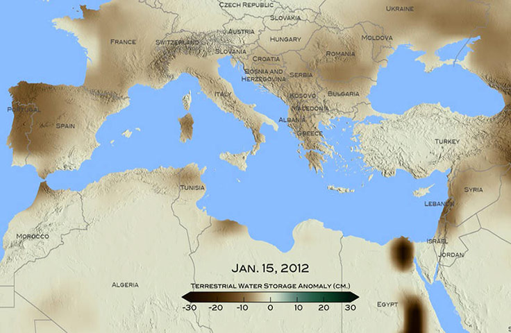 Map of Mediterranean region drought