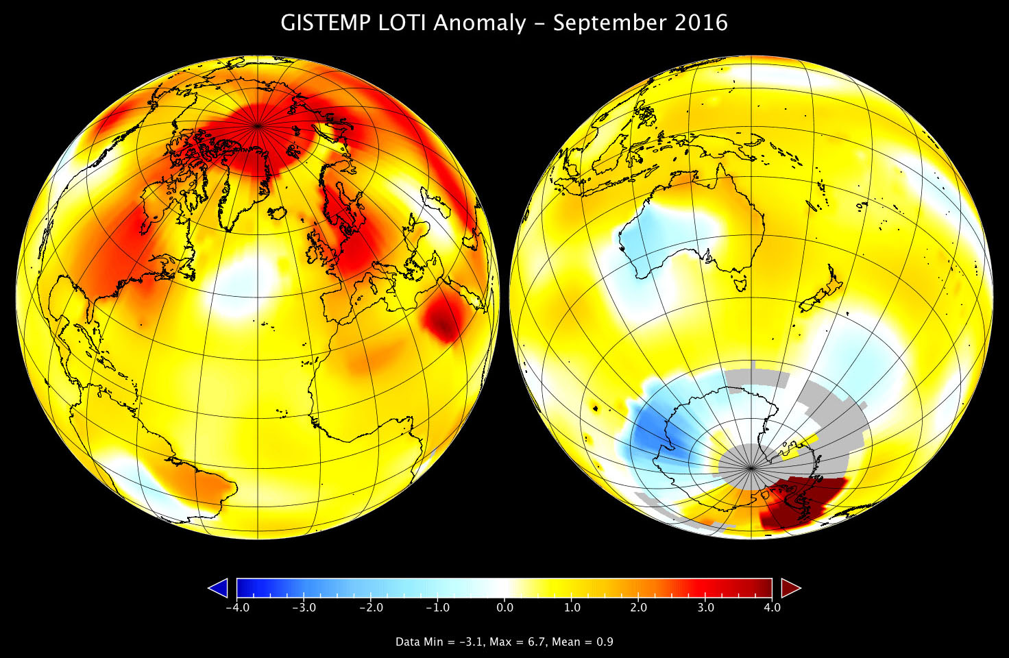 Global map of GISTEMP anomaly