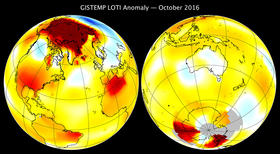 Map of GISTEMP Oct 2016 anomaly
