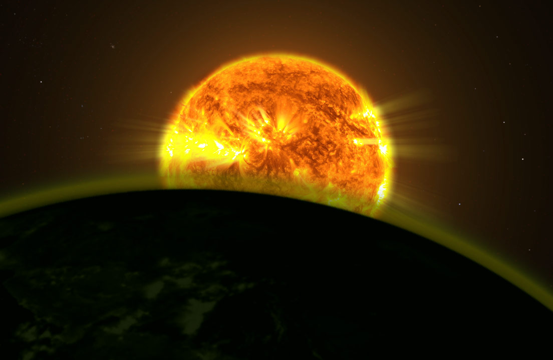 Artist rendering of a star illuinating an atmospehre