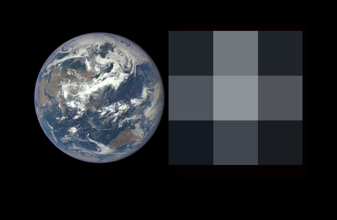Rendering of Earth is viewed as an exoplanet