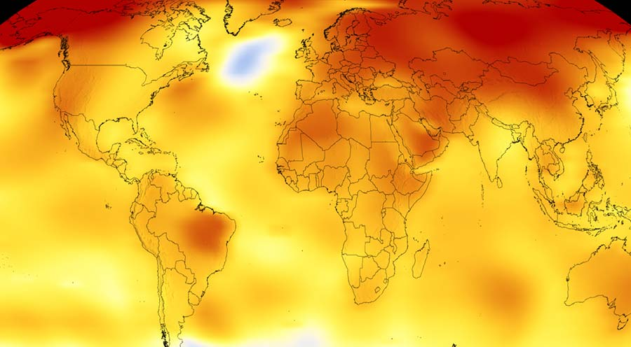 Global map of temperature anomaly