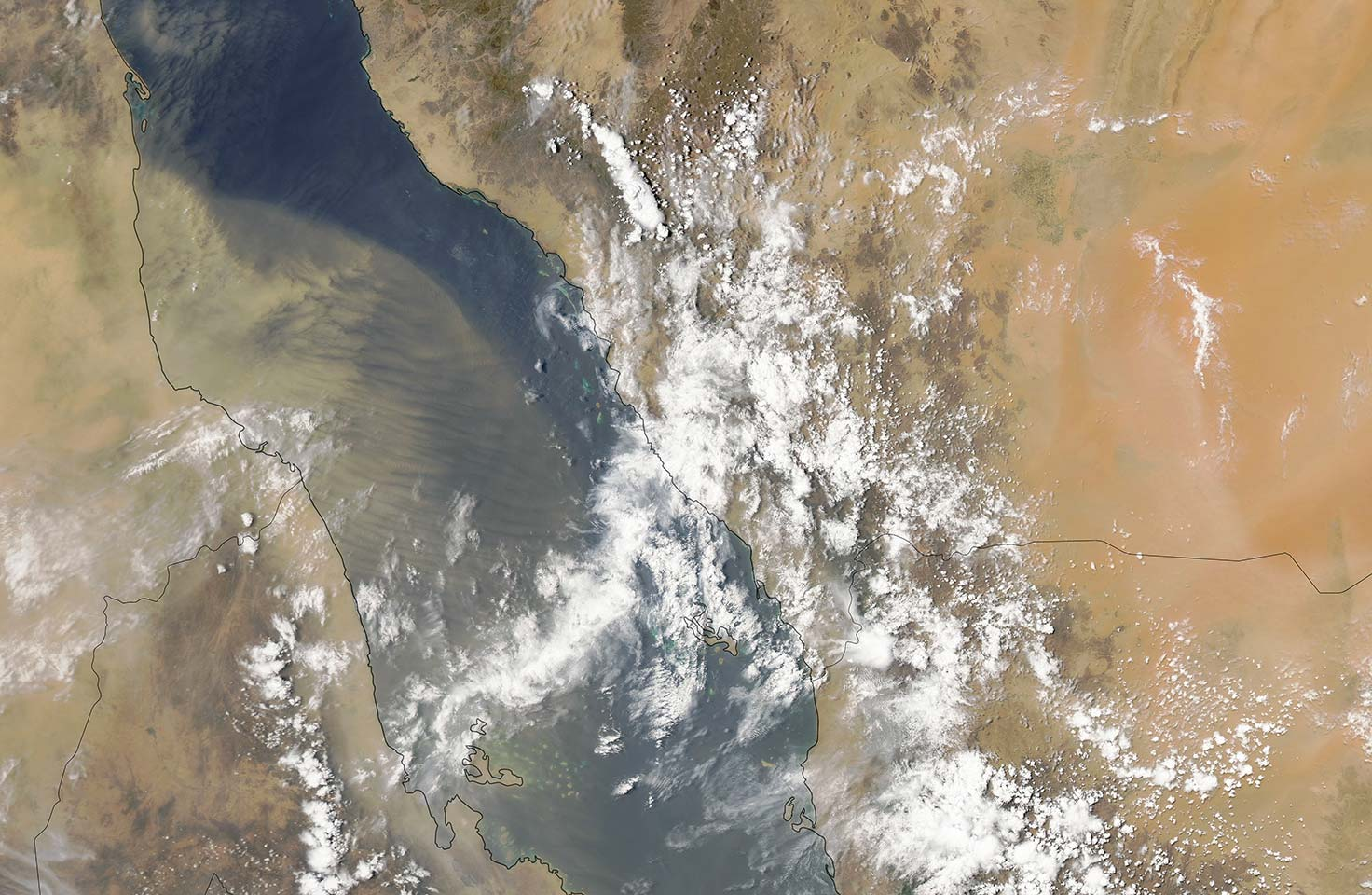Satellite image of dust over the Red Sea