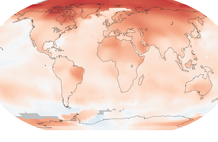 Global map of the 2005-2014 temperature anomaly
