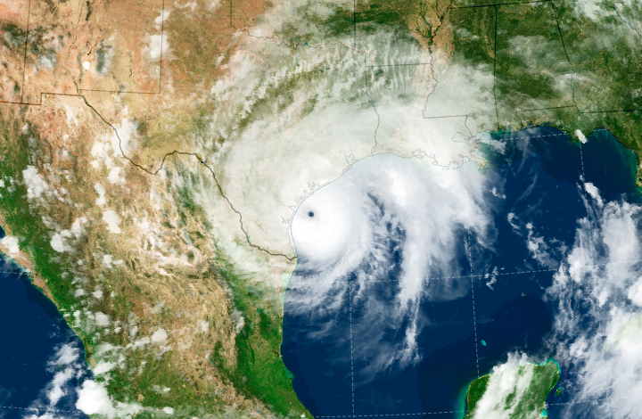 Imagery of Hurricane Harvey stalled off Texas coast