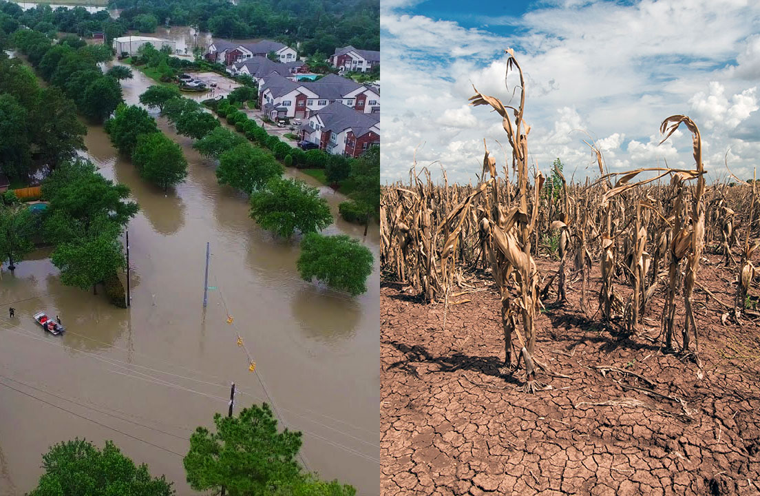Side-by-side images of flood and drought
