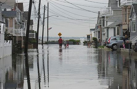 Photo of flooded street in Broad Channel