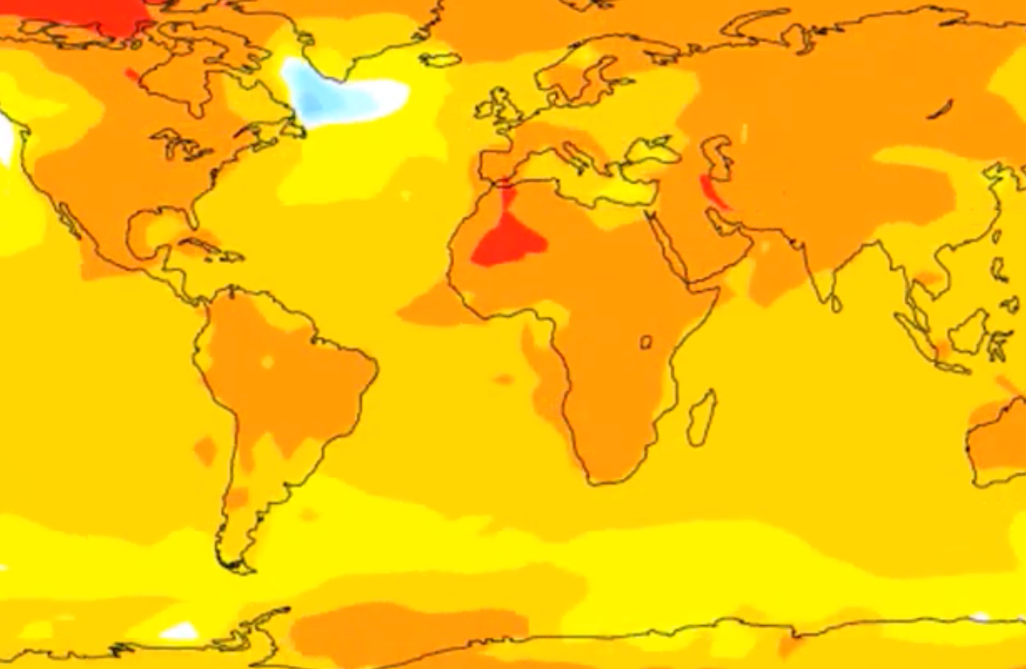 Sample global map of climate model temperature data