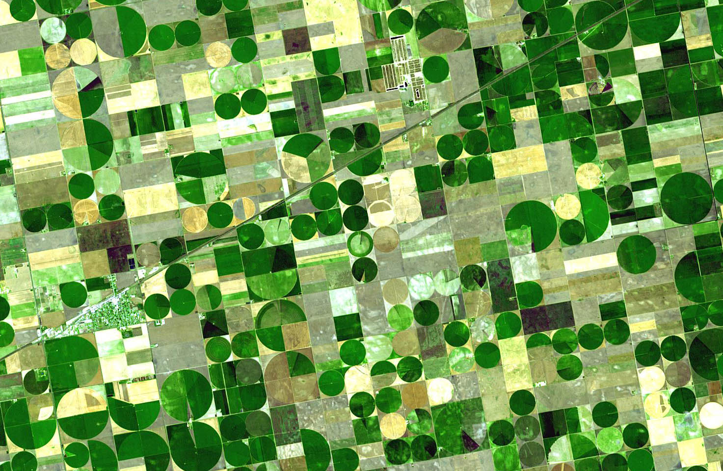 Satellite photo of farmland