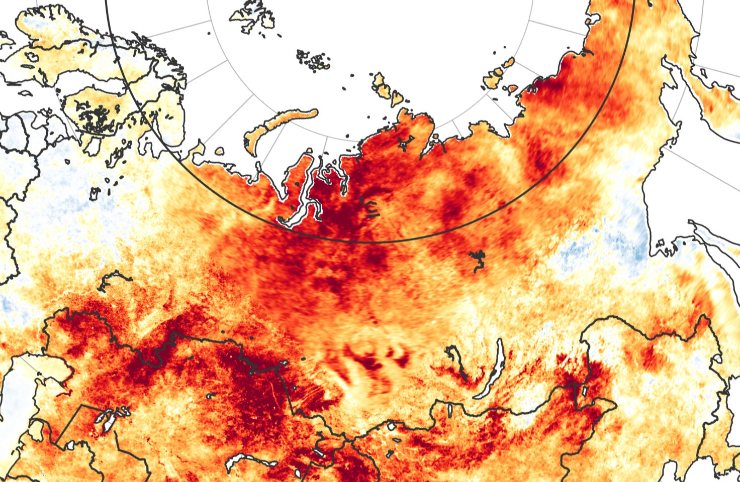 Map of Siberia temperature anomaly