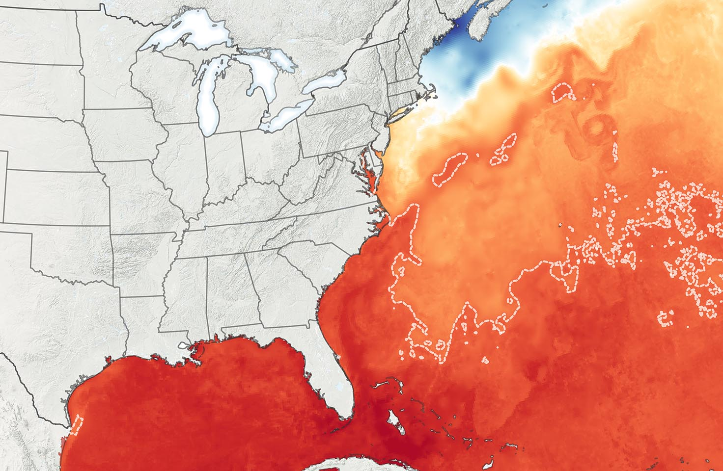 Map showing sea surface temperatures of the US East Coast