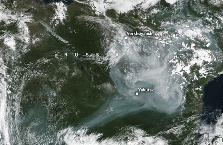 Satellite imagery of smoke over eastern Siberia