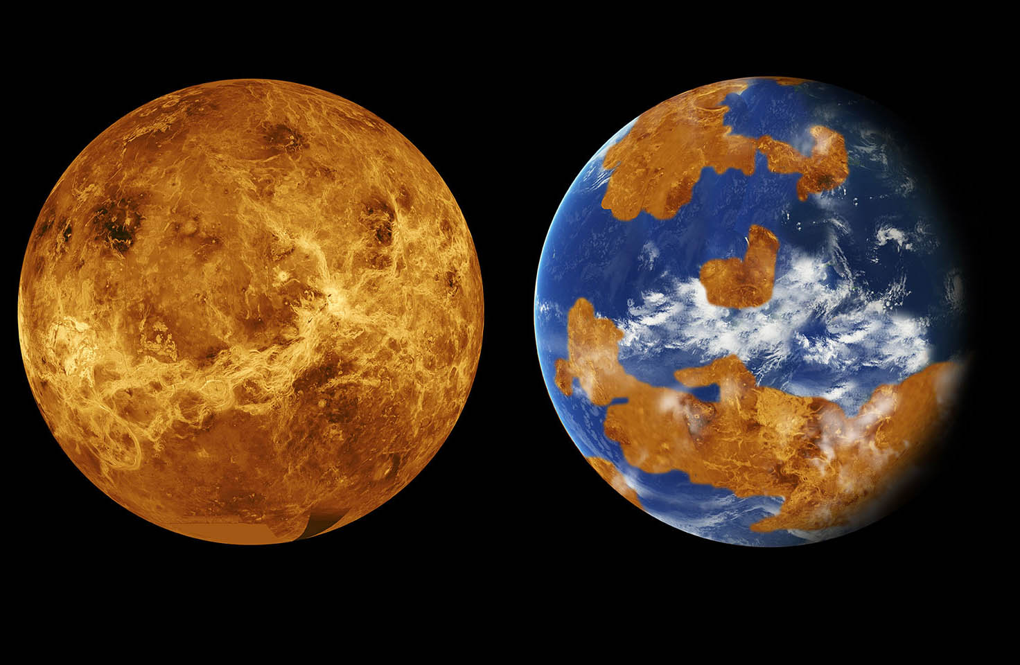 Images of modern and paleo Venus