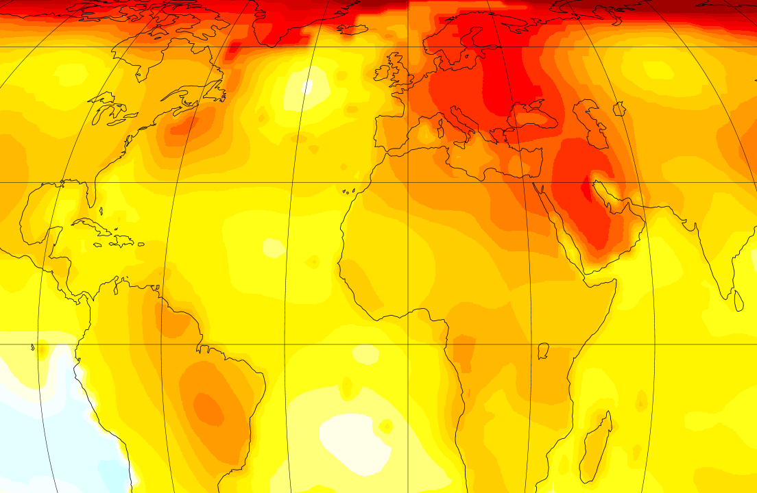 A portion of a global temperature trends map