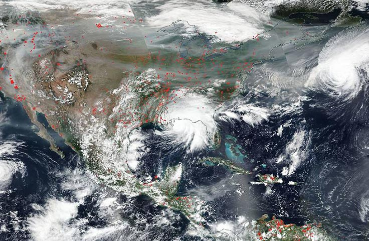Satellite image showing fires in the U.S. as Hurricane Sally makes landfall