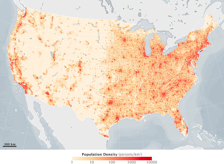 map of population density in the lower 48 united states