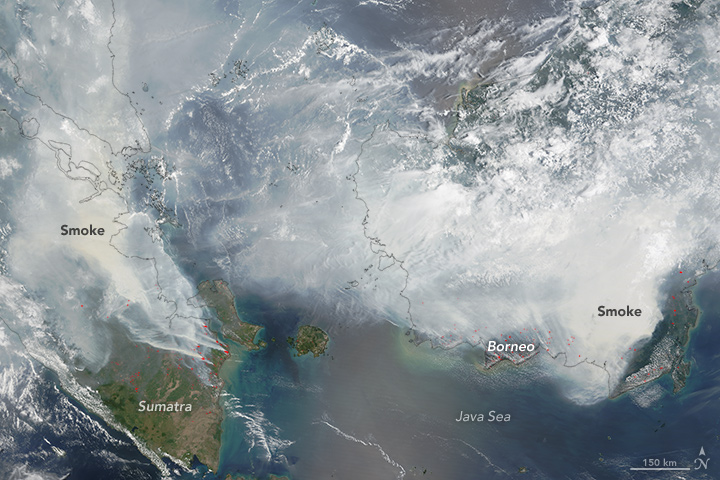 Heavy smoke blanketed Sumatra and Borneo in September and October 2015, as observed by NASA's Terra satellite. Credit: NASA image by Jeff Schmaltz, LANCE/EOSDIS Rapid Response.