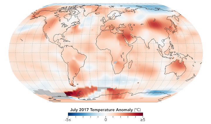 Global map of July 2017 temperature anomaly