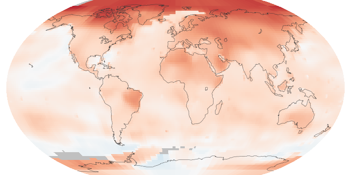 Global map of surface temperature anomaly for the period 2005-2014