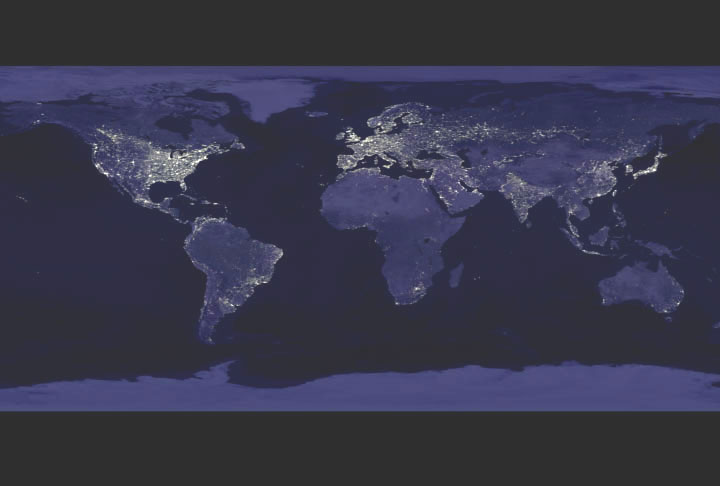 NASA GISS NASA News Feature Releases Satellites Shed Light On - World satellite map lights