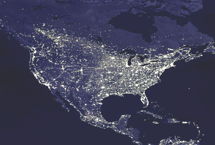 Nasa giss nasa news feature releases satellites shed light on a map of us night lights caption explains further gumiabroncs Image collections