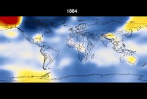 Still from animation showing temperatures from 1891 to 2006 in ten year increments.
