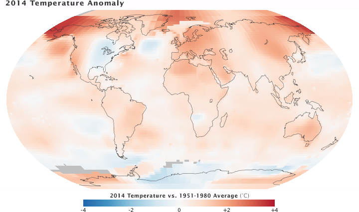 Nasa giss nasa news feature releases nasa noaa find 2014 global map of 2014 temperature anomaly gumiabroncs Choice Image